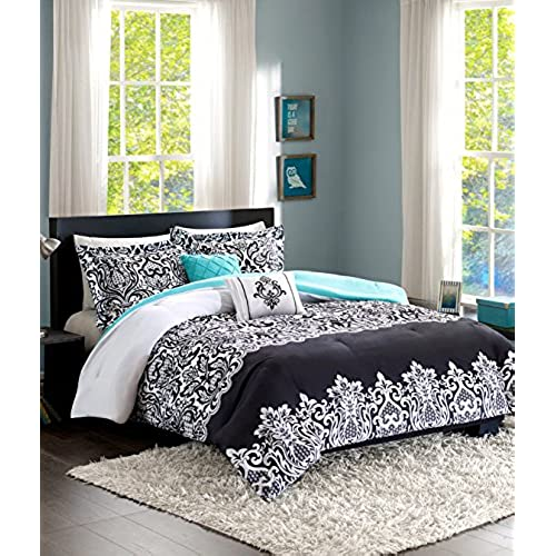 Home Style Teen Girl Bedding Damask Girls Comforter Black White Aqua Teal  Full Queen + GORGEOUS Throw Pillows + Shams Sleep Mask Bed Bedspread Sets  For Kids ...