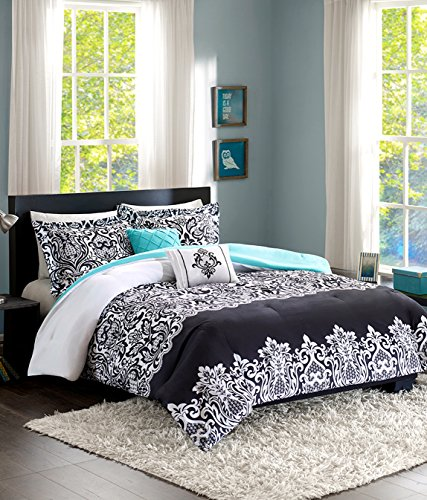 Home Style Teen Girl Bedding Damask Girls Comforter Black White Aqua Teal Full Queen + Gorgeous Throw Pillows + Shams Sleep Mask Bed Bedspread Sets for Kids Teenage Teens Floral Medallion