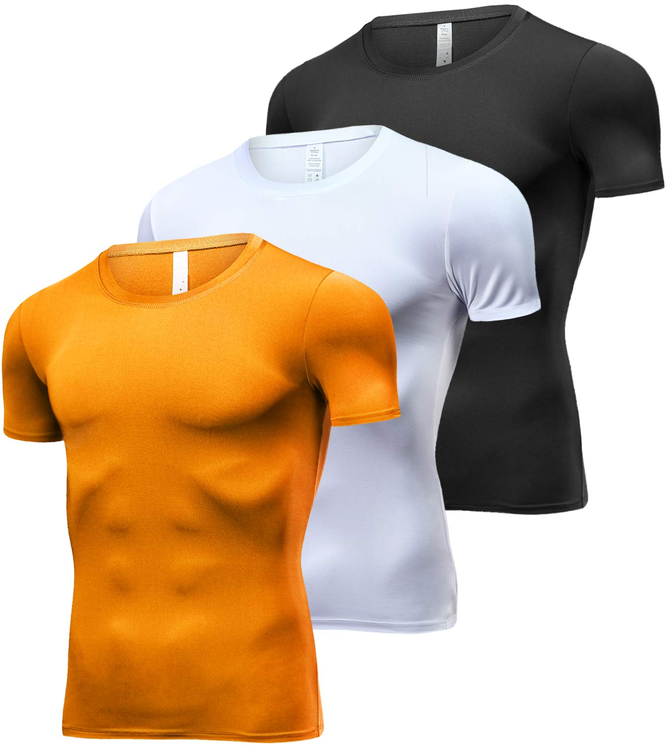Lavento Men's Cool Dry Compression Shirts Crew Neck Short-Sleeve Workout T-Shirts