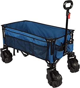 Timber Ridge Outdoor Collapsible Wagon Utility Folding Cart Heavy Duty All Terrain Wheels for Shopping Camping Garden Beach with Side Bag and Cup Holders