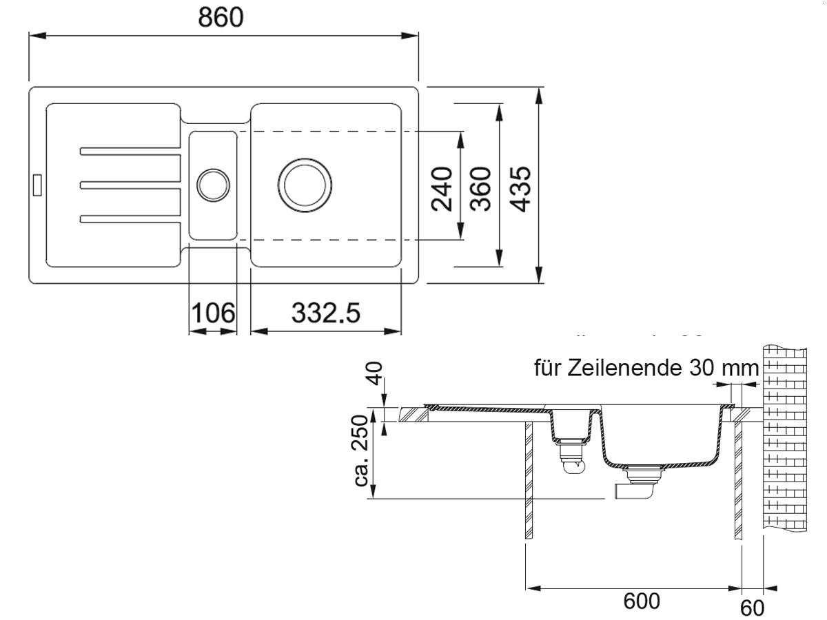 Franke Strata STG 651-86 Umbra Grau Granit-Sp/üle Sp/ültisch K/üchensp/üle Einbau