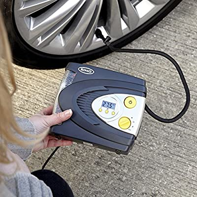 Ring RAC630 12V Automatic Digital Compressor with LED Work and Safety Light, Inflates Fully deflated car tire in Under 3 Minutes: Automotive