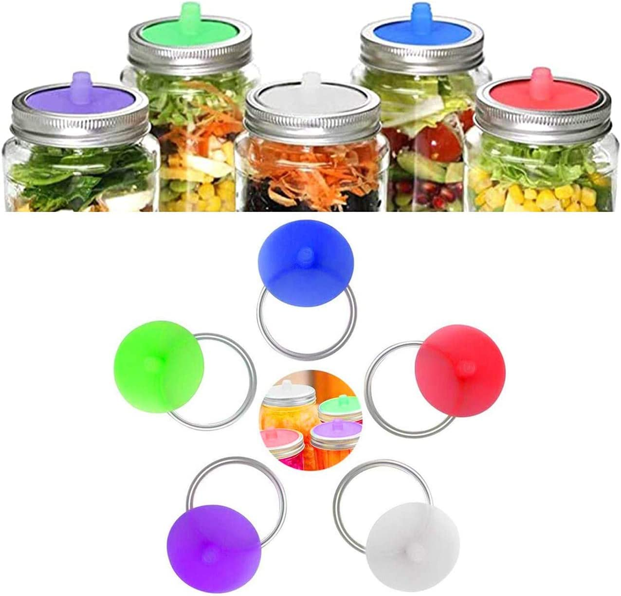 Silicone Fermenting Lids, Waterless Airlock Fermentation Mason Jar Lids Silicone Airlock Lids, Kimchi, Pickles, and Fermented Probiotic Food, 5 Pack (Jars & Metal Rings Not Included)