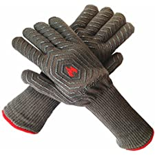 LaTazas Extreme Heat Resistant Grill Oven Mitts, Hot 932°F (EN407) 14 Inches Extra Long and Thick Protection BBQ Gloves for Grilling, Cooking, Fireplace, Barbecue and Pot holders with Grey, Set of 2