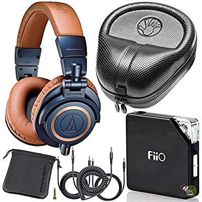 Audio Technica M50X LE Blue DJ Studio Headphones w/ FiiO E06 Amp & Hard Case