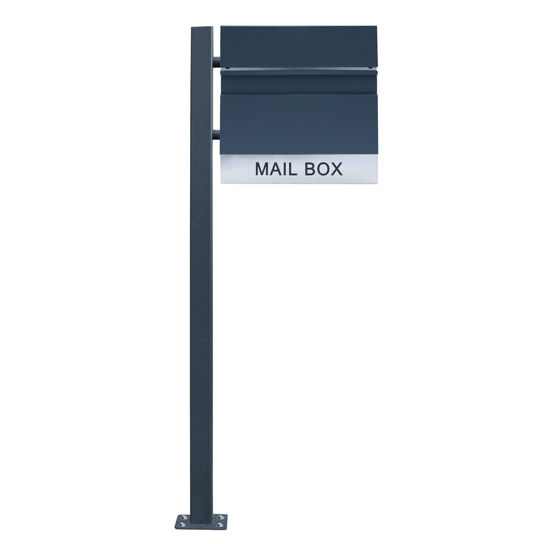 Postkasten Zeitungsrolle Wandbriefkasten Postkasten A Type RAL-7016 Anthrazit LZQ Design-Briefkasten Geb/ürstetes Edelstahl Postkasten mit Zeitungsfach