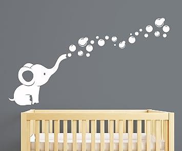 Amazoncom Elephant Bubbles Nursery Wall Decal Room Decor White - Nursery wall decals