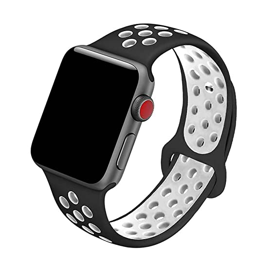 5Daymi Soft Silicone Replacement Band for Apple Watch Nike + Series 3,  Series 2, Series 1 (Black/White,42mm-S/M)