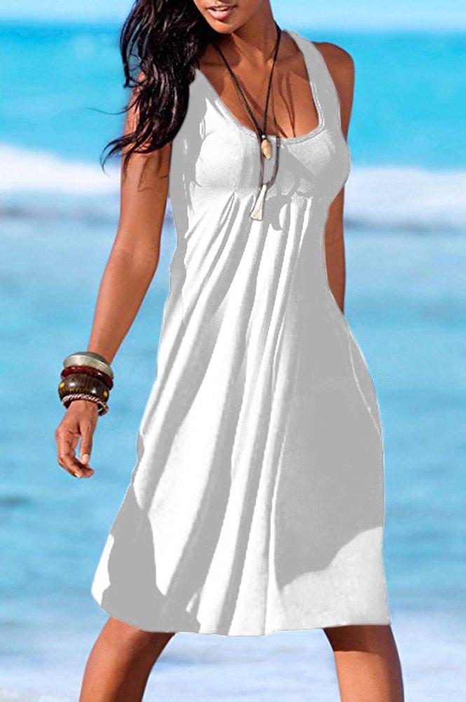 Camisunny Women Vest Dresses for Summer Beach Dress Swimsuit Swimwear Cover up Plain Size XXL by Camisunny (Image #2)
