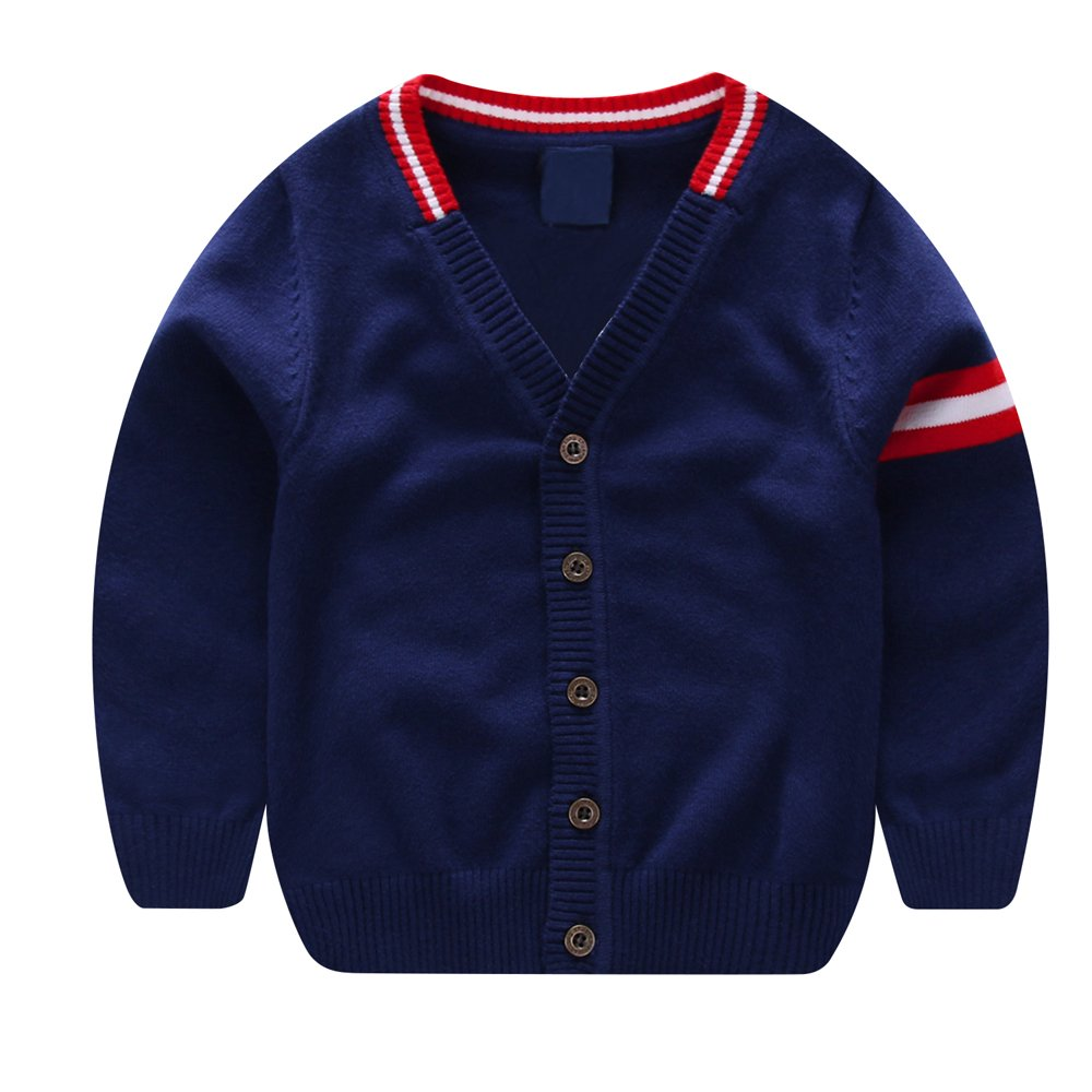 BAIXITE Little Boys Crewneck Cardigans Button Knitted Deerlet Long Sleeves Sweater (3-4T, Navy Stripe)