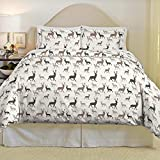 3 Piece Adorable Brown Taupe Grey White Full Queen Duvet Cover Set, Deer Themed Bedding Animal Woodland Forest Modern Chic Fun Cute Casual Stylish Wildlife Mountain Ranch, Cotton, Flannel