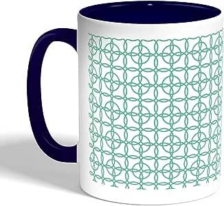 كوب سيراميك للقهوة بتصميم دوائر متداخلة ، لون ازرق