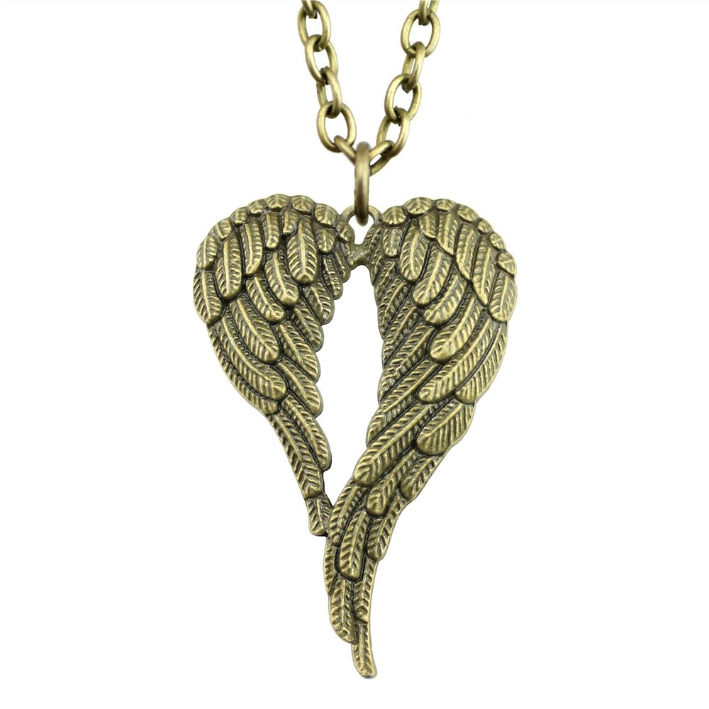 NEWME Big Double Wing Charms Metal Chain Necklace For Lover Handmade Jewelry Kraftpaper Box Gifts