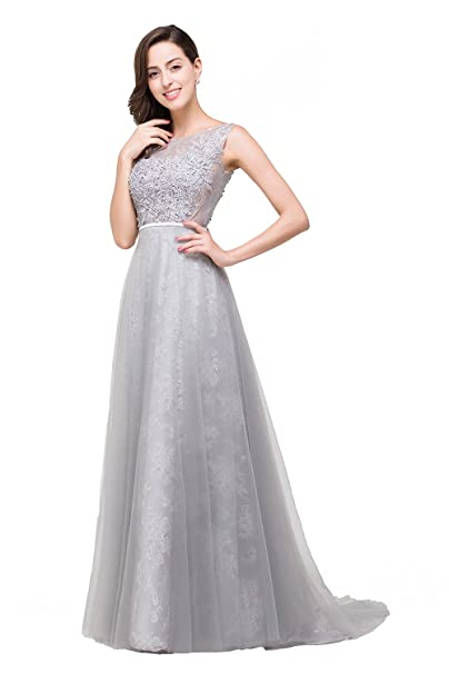 Babyonlinedress Vestido largo elegante A line de fiesta para bodas vestido de novia plateado de chiffón