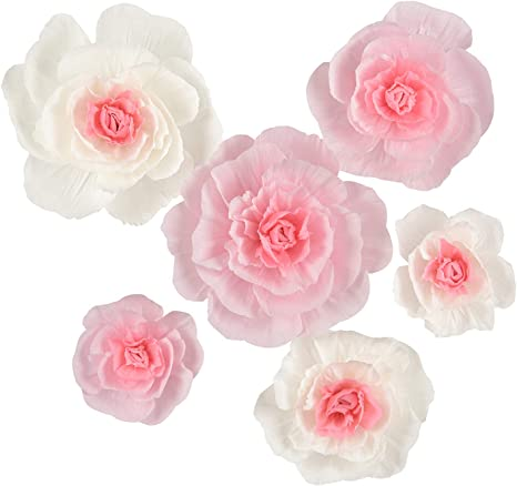 Handgefertigte Blumen Große Krepppapier Blumen Rosa Und Weiße Blumen Set Mit 6 Stück
