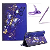 Wallet Leather Case for All-New Amazon Fire 7 2017,Flip Kickstand Case for All-New Amazon Fire 7 2017,Herzzer Stylish Pretty [Purple Butterfly Pattern] PU Leather Purse Folio Smart Stand Cover with Card Cash Slot Soft TPU Inner Case Protective Skin