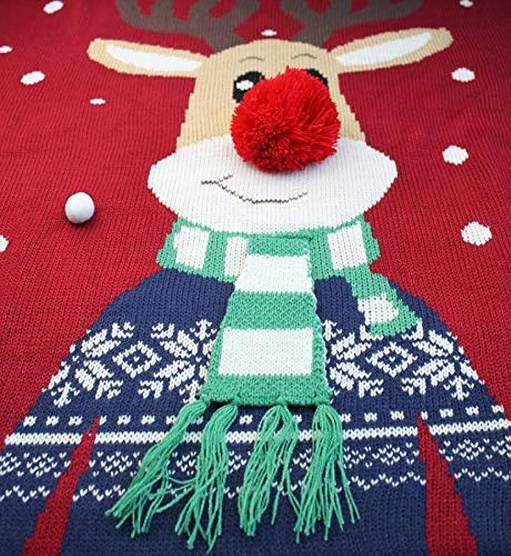 *daisysboutique* Męska kurtka bożonarodzeniowa rudolph-ren-feiertags-dzianinowa kardigan miły brzydki sweter średni rudolph-mit szalik: Odzież