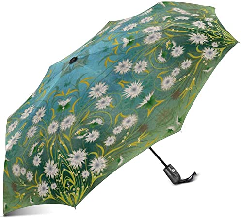 Steam Train Windproof Rainproof Automatic Open And Close Foldable Umbrella,Travel Umbrella Compact Sun//Rain