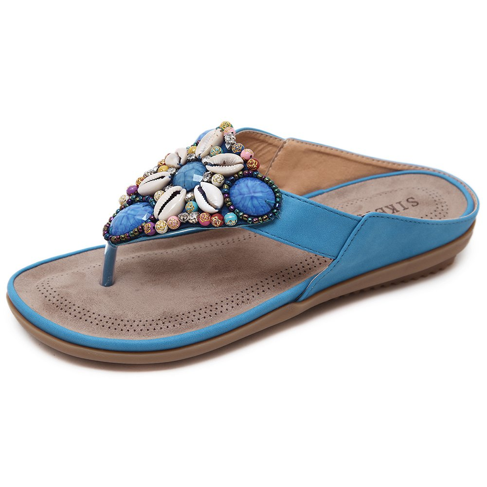 Woky Flip Flops Damen Sommer Zehentrenner mit Strass Perlen Bohemia Flach Clip Toe Pantoletten Grouml;szlig;e 34-44  42 EU|Blau