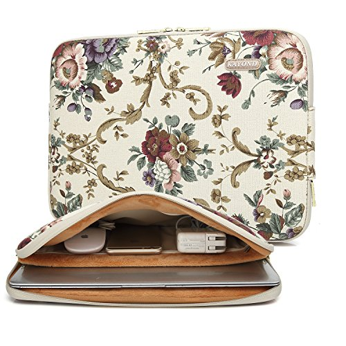 Kayond Canvas Water-Resistant 15 inch Laptop Sleeve with Pocket 15 inch 15.6 inch Laptop Case Carrying Notebook Bag(15-15.6 inches, Bohemian Flower)