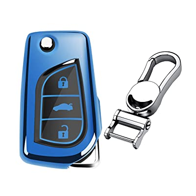 M.JVisun Soft TPU Case Cover Protector Case for Toyota Flip Key Fob, Car Remote Key Fob Case for Toyota Levin Camry Highlander Corolla RAV4 Fortuner Fob Remote Key - Glossy Blue - Metal Keychain: Automotive