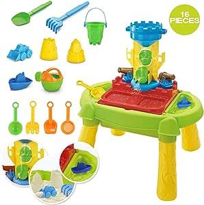deAO Mesa de Agua y Arena 3 en 1 Mesita Infantil para Juegos y Actividades Infantiles al Exterior Incluye Accesorios y Moldes (Castillo): Amazon.es: Juguetes y juegos