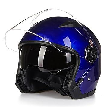 MATEROP Casco Moto Cara Abierta para Moto Racing Casco Moto Vintage con Lente Doble Blue M