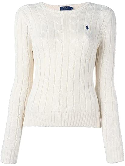 2f42353efdf Ralph Lauren Polo Ladies Crew Neck 'Julianna' Cotton Cable Knit Sweater