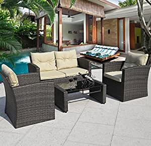 SKB Family 4 pcs Outdoor Wicker Rattan Cushioned Patio Seat