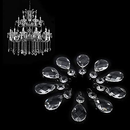 10 Clear Maple Leaf Glass Crystal Chandelier Lamp Prism Pendants Home Decor 38mm