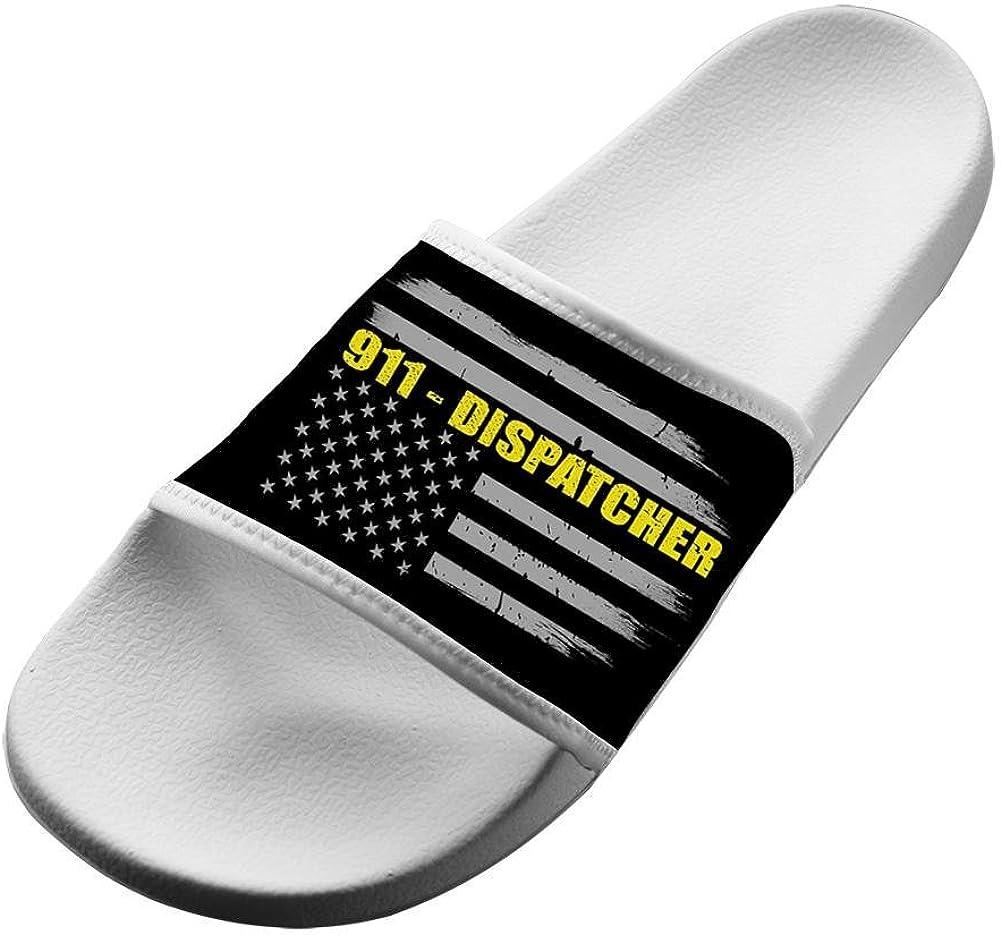 Dlongge 911 Dispatcher Blue Line Flag Comfortable Slipper Summer Sandal Art graffiti Designs For Men /& Women