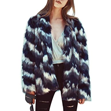 Women Fashion Fluffy Winter Elegant Warm Long Sleeve Faux Fur Jacket Coat