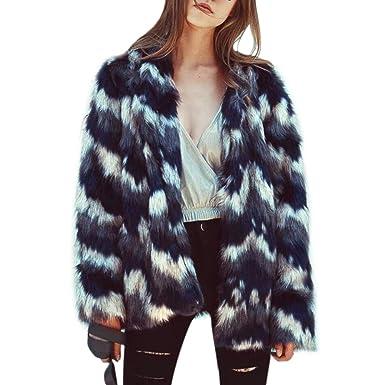 Women Fashion Fluffy Winter Elegant Warm Long Sleeve Faux Fur Jacket Coat