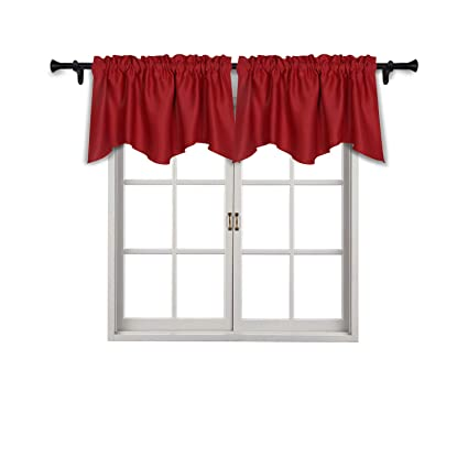 SUO AI TEXTILE Rod Pocket Blackout Curtain Scalloped Valances Blackout Short Curtains For Small Window 42x18 Inch Ture Red 2 Panels
