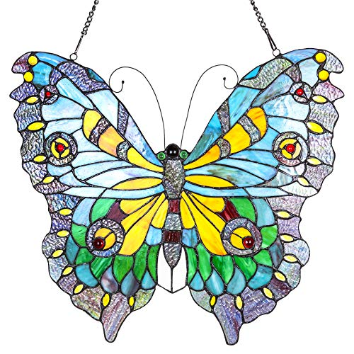 """20.5"""" H Stained Glass Swallowtail Butterfly Window Panel from River of Goods"""