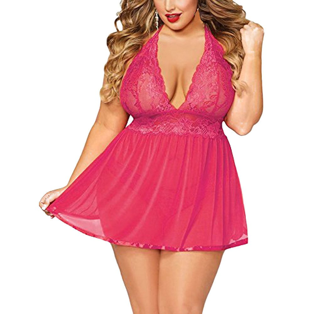 F_Gotal Sexy Lingerie for Women Plus Size Open Back Nightgown Temptation Chemise Underwear Teddy Nightdress Hot Pink