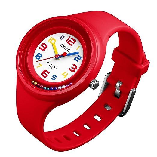 Relojes Deportivos para Niños Niña Chicas Colores Redondos Cuarzo 5 ATM Impermeable Reloj Infantil Tiempo Teacher: Amazon.es: Relojes