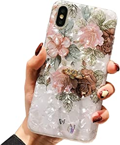 Qokey Compatible with iPhone Xs Case,iPhone X Case Floral Cute Clear for Men Women Girls with 360 Degree Rotating Ring Kickstand Soft TPU Shockproof Cover Designed for iPhone X/XS 5.8
