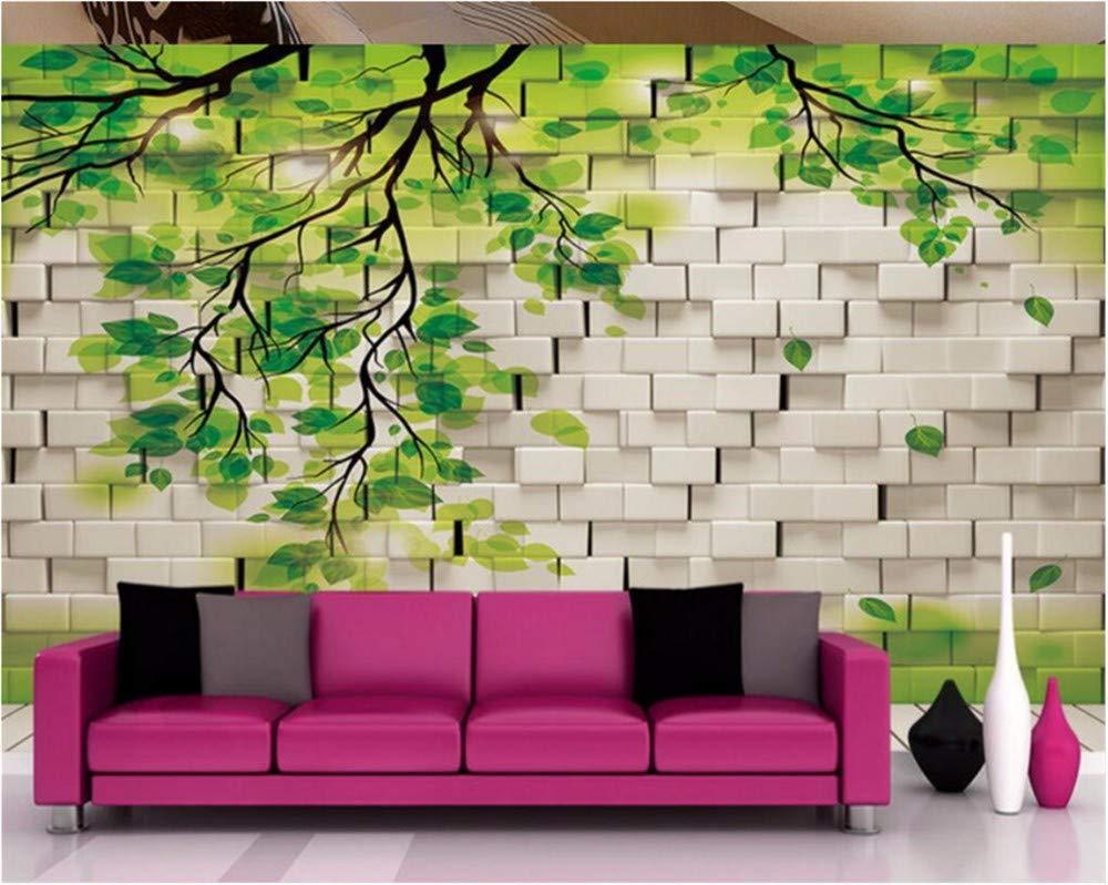 Weaeo 任意のサイズをカスタマイズする3Dリビングルーム壁の壁画の壁紙、現代緑の木の葉の葉写真の壁画の壁紙-350X250Cm B07HB2PTL3 350X250CM 350X250CM