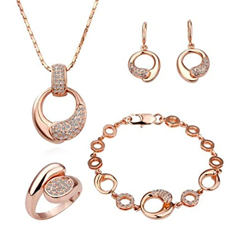 Amazon Women Alloy Base Rose Gold Palted Necklace Earrings