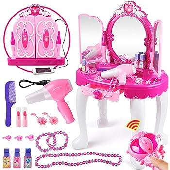Girls Dressing Table,Kids Vanity Table And Chair Beauty Play Set Princess  Make Up Vanity