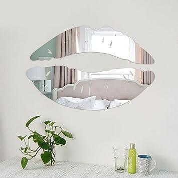 Kompassswc Fashion Silber DIY Wandaufkleber Spiegel 3D Lippe ...