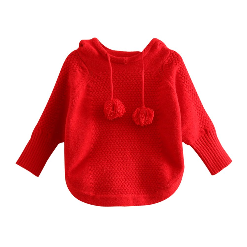 Mud Kingdom Baby Girls Red Hooded Batwing-Sleeved Sweater Blouse Pullover