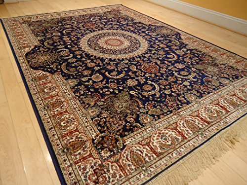 Amazon Com New Silk Persian Navy Rug High Quality Silk Rug Navy