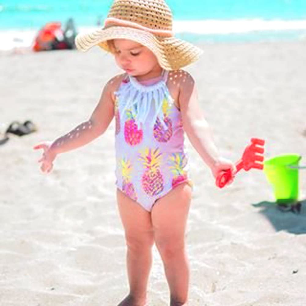 Mini honey Infant Toddler Baby Girls One-Piece Swimsuit Pineapple Printed Backless Halter Swimwear for Beach