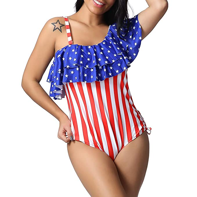 50acf49dbf5 Amazon.com: Women Plus Size American Flag Printed Sling Bikini Swimwear  Beachwear Tankini Dress One Piece: Clothing