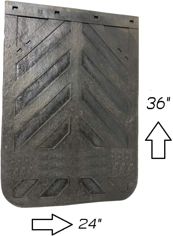 Denco Black Semi Truck and Trailer Mud Flaps Chevron 24 x 36 Heavy Duty Rubber Pair