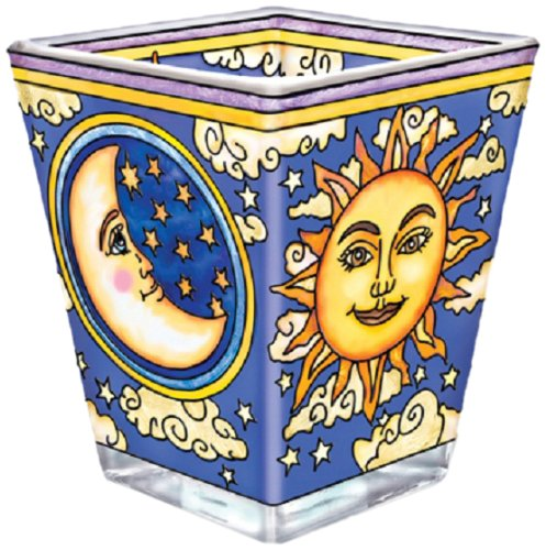 Amia 3-Inch Petite Glass Votive Hand-Painted Celestial (Stained Glass Christmas Candles)
