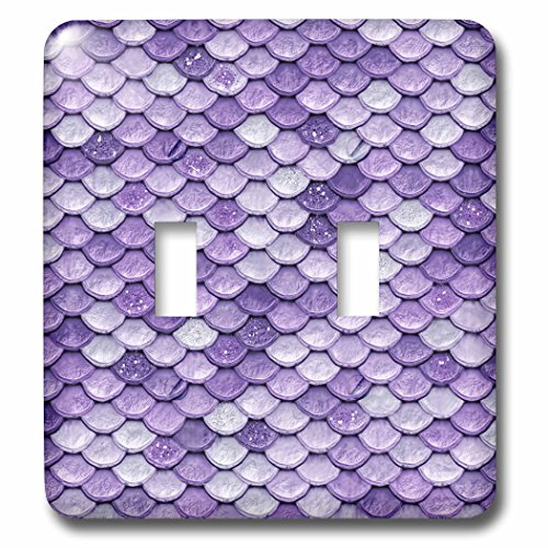 3dRose (lsp_266922_2) Double Toggle Switch (2) Sparkling Luxury Elegant Purple Mermaid Scales Glitter Effect Art Print by 3dRose