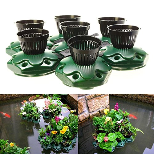 7pcs Aquaponics Floating Pond Planter Basket Kit - Hydroponic Island Gardens by G&B